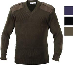 Rothco V Neck Acrylic Uniform Sweater Military Commando Army Epaulets Winter