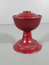 Unusual Tin Miniature Oil Lamp Painted Red / FREE Shipping