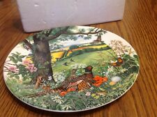 Wedgwood Meadows & Wheatfields Plate, England 1987, pheasant country scene