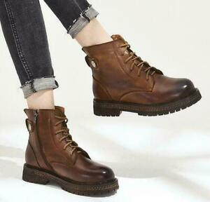 Women Leather Round toe Lace up High top Combat Knight Punk Shoes Ankle Boots SZ