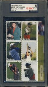 2000 Buriatia Stamp Set Tiger Woods Rookie 944/1000 PRO 10  Ships From Can & USA