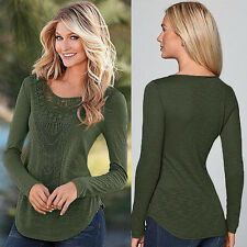 New Fashion Women Sexy Loose Tops Long Sleeve Blouse Shirt Casual Cotton T-Shirt