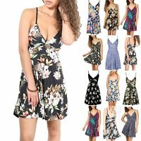 Womens Mini Skater Dress Ladies Wrap Over Swing Floral Printed Flared Strappy