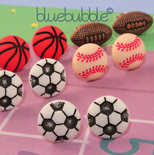 FUNKY SMALL SPORTS DAY EARRINGS FUN CUTE TEAM GAME RETRO NOVELTY XMAS GIRLS GIFT