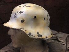 German Helmet  with decal plastic replica winter camo weathered