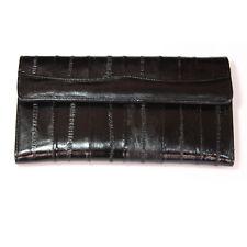 Genuine Eel Skin Leather Woman Long Wallet Trifold Purse Black