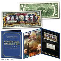 American Civil War CONFEDERATE GENERALS Genuine $2 Bill 8x10 Collectors Display
