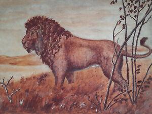 Lion Savane Afrique GOUACHE ORIGINALE Henri PEINTURE 1923