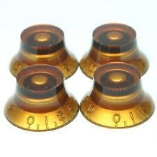 NEW - Set of 4 Amber Top Hat Knobs for Gibson Les Paul