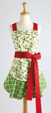 NWT DII  100% Cotton  Adult size Green  Red  White Ruffled HOLLY Christmas APRON