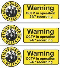 CCTV WINDOW SIGNS INSIDE  Neighbourhood Watch with CCTV  Sign,Sticker PACK OF 3