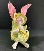 Annalee Spring Easter Bunny Rabbit Girl Doll Pastel Green Yellow Outfit 2006