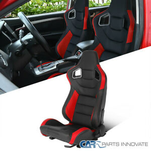 Driver Side Black/Red PVC Leather Carbon Fiber Look Racing Seat Left w/ Sliders