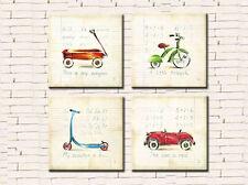 BOYS TRICYCLE WAGON CAR SET OF 4 PRINT ON CANVAS 50 x 50 (ON FRAME) WALL ART