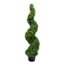 Artificial 120cm / 4ft Boxwood Spiral Topiary Tree UV Stable Outdoor Use Green