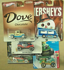 Hot Wheels Almond Joy, Dove, New Year & More Car Replicas Group of 5 1:64