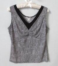 Christopher & Banks black geometric v-neck sleeveless stretch knit top *Sz L*
