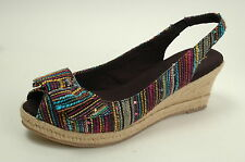 New Naturalizer Bina Womens Peep Toe Wedges Heels Summer Reggae Sun Size 7.5
