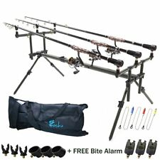 Carp Fishing Rod Pod 3x Black Bite Alarms With Volume Control 3x Indicator Swing