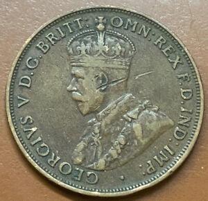 1921 Australia One Penny Cent Copper Original Australian Coin - TCCCX