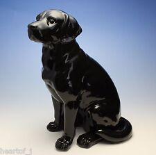 "11""H Black Labrador Retriever Sitting Dog Porcelain Figurine Large Japan NEW"