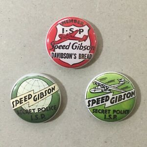 """Speed Gibson I.S.P. International Secret Police Pin Button ISP 1"""" Badge Set Of 3"""