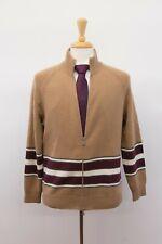 NWT $2395 Brunello Cucinelli Cashmere-VWool 3-Tone Stripe Cardigan 50/ 40US A201