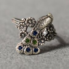Vintage Sterling Silver Peacock Ring size 5.5 - 1566
