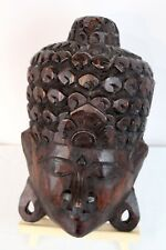 Indonesia Asian Dark Hand Carved Wood Hanging Head Wall House Decoration
