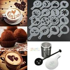 16pcs Cappuccino Coffee Stencils+Stainless Steel Chocolate Shaker Duster+ Spoon