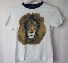 Gymboree Boys T Shirt Fuzzy Lion Graphic Short Sleeve Blue Crew Neck Wht 7 #7446