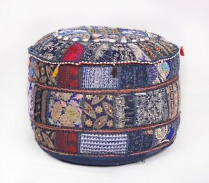 Embroidered Ottomans Poufs footstools Vintage fabric Bohemian Ottomans Covers