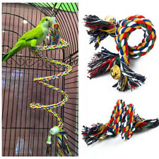 Use Pet Parrot Chew Rope Budgie Bell Bird Perch Coil Swing Cockatiel Cage Toy J