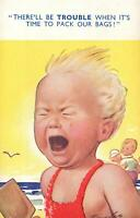 COMIC BAMFORTH HOLIDAYING TODDLER at BEACH CRYING to STAY POSTCARD - UNUSED