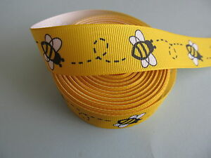 "Grosgrain Bumble Bee Yellow Bug Ribbon 7/8"" 22 mm 5/8"" 3/8"""