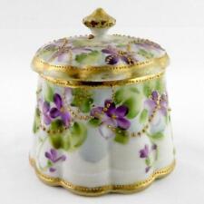 Vintage Porcelain Lidded Sugar Bowl Gold Moriage and Hand Painted Violets GOOD