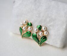 Gold green enamel pearl flower ear clip women jewellery