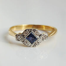 Stunning Antique Art Deco 18ct Gold Sapphire & Diamond Ring c1925; Size 'G 1/2'