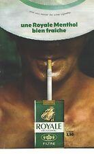 PUBLICITE ADVERTISING  1965  ROYALE cigarette Menthol bien fraiche...