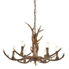 Searchlight Stag 6 Lights Wooden Antler Chandelier Pendant Light Indoor Lighting