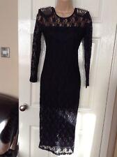 ASOS Petite Black Lace Dress with Metal Studded Shoulder Detail Size 10