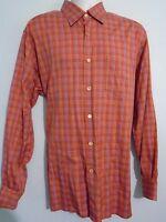 Ermenegildo Zegna Mens size XL Long Sleeve Button Front Red Plaid Cotton Shirt