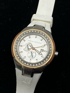 Armani Exchange White Rose Gold Ladies Watch White Silicone Diamond Face Accents