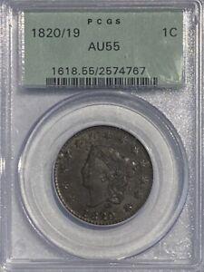 PCGS AU55 1820/19 Coronet Head 1 Cent.! OGH.!