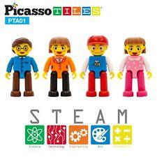 PicassoTiles 4 Piece 3D Magnetic Family Character Figure Expansion Set Pta01
