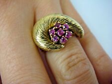 EXQUISITE 14K TWO TONE GOLD VINTAGE UNUSUAL HAND MADE RING WITH RUBIES 9.2 GRAMS