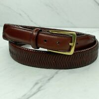 Vegetable Tanned Cowhide Braided Woven Brown Leather Belt Size 38