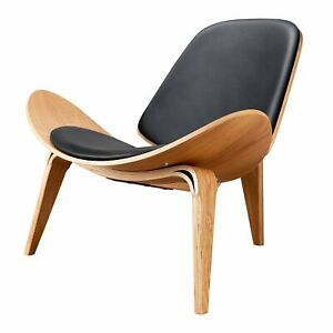 Hans Wegner Style Shell Chair Replica Genuine Leather Accent Chair Walnut  Rose