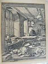 ANTIQUE ALBRECHT DURER ETCHING ENGRAVING ST. JEROME IN STUDY ORIG PLATE RIDGES