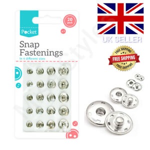 20 SNAP FASTENERS FASTENINGS POPPERS PRESS STUDS METAL SMALL MEDIUM LARGE SILVER